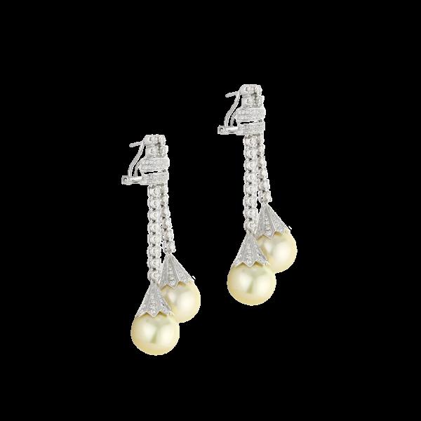 14 Karat white gold small hoop earring with diamond.